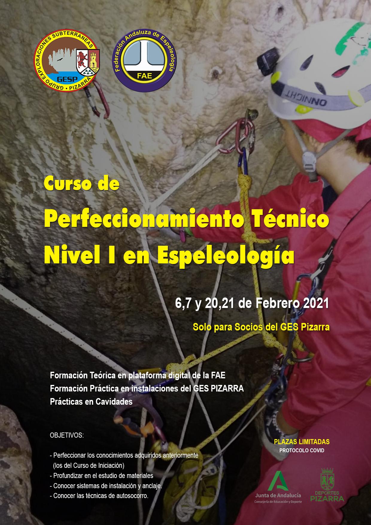 Cartel Curso Perfeccionamiento Espeleo GESP 2021